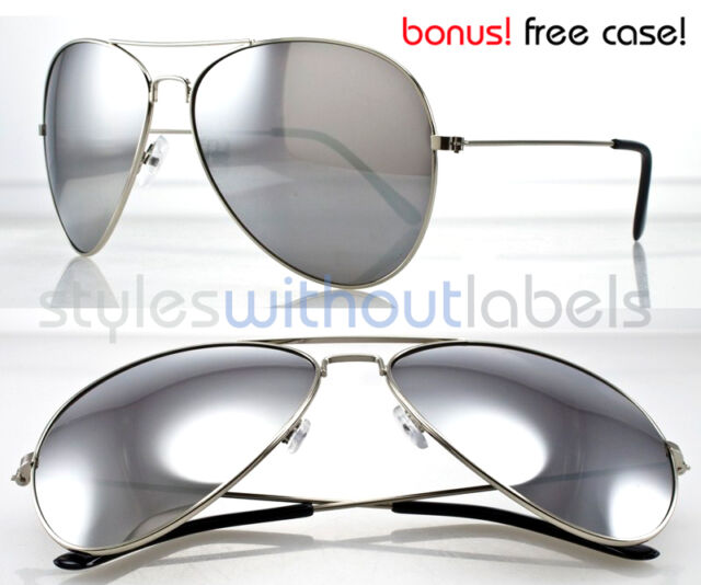 21f62b0460 Extra Large Oversized Aviator Silver Mirrored Sunglasses Classic Free Case  S077