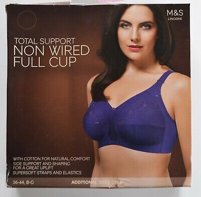 36C  MARKS /& SPENCERS TOTAL SUPPORT NON WIRE FULL CUP EMBROIDERED BRA  NEW