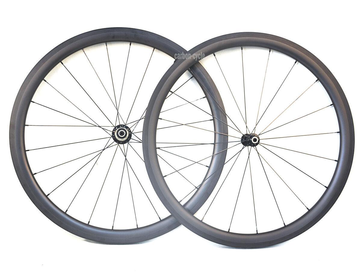 Carbon Clincher 40mm Wheel 27mm Road Bike 700C UD Matt Basalt rim Front Rear 11s