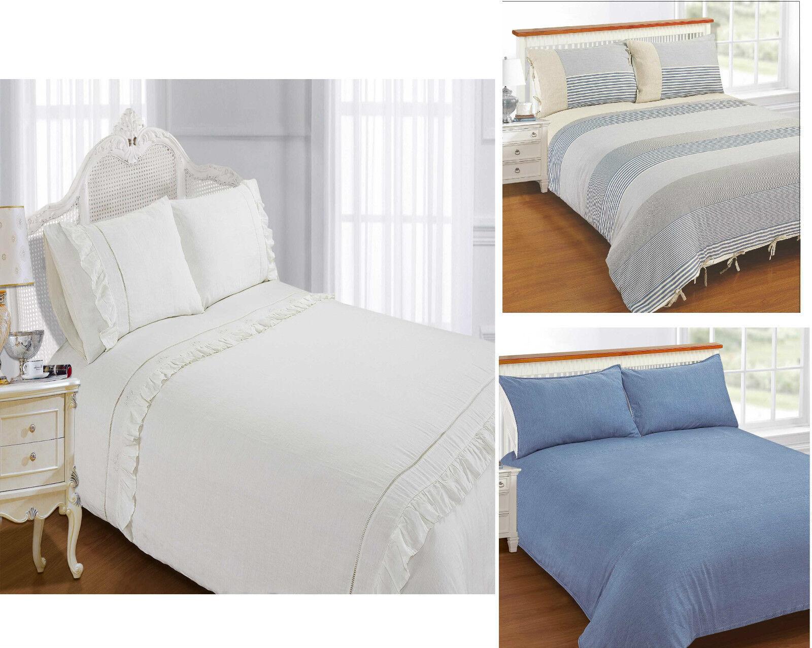 Exclusive Superior Designer 100% Cotton Linen Duvet   Quilt Cover Bedding Set
