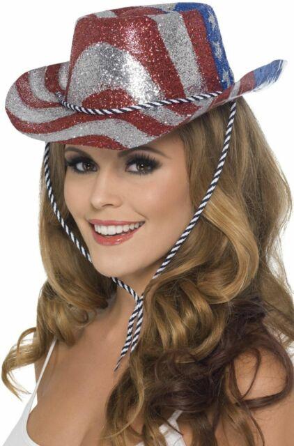 Nouveau cow-boy paillettes chapeau, Stars & Stripes Smiffy's Ladies Fancy Dress Accessoires