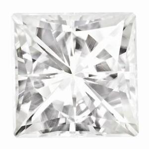 1 Prinzess Schliff Moissanit Weiß Brillant 8mm Durchmesser 3.10 Dinge Bequem Machen FüR Kunden