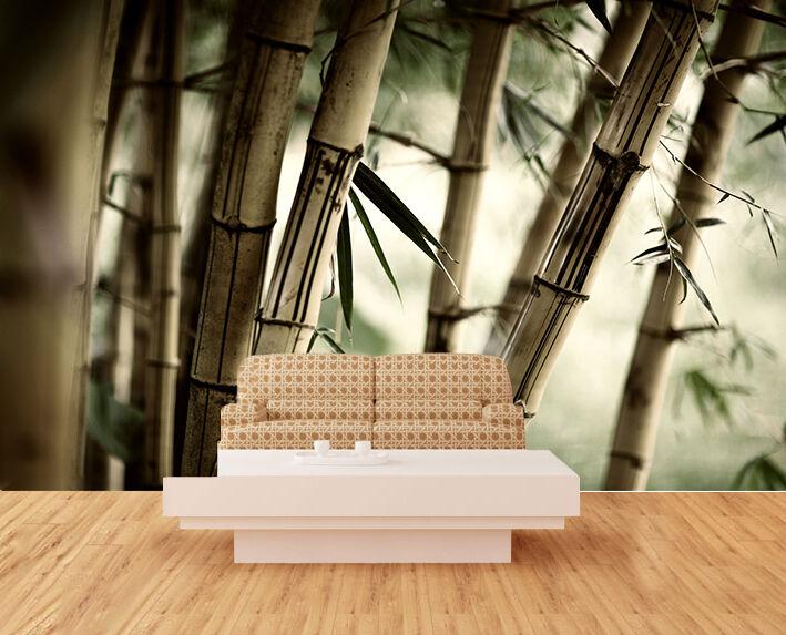 3D grey Bambus 36 Fototapeten Wandbild Bild Tapete Familie Kinder