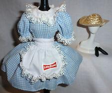 OUTFIT ~ BARBIE DOLL BLUE GINHAM DRESS APRON HAT LITTLE DEBBIE COSTUME ENSEMBLE