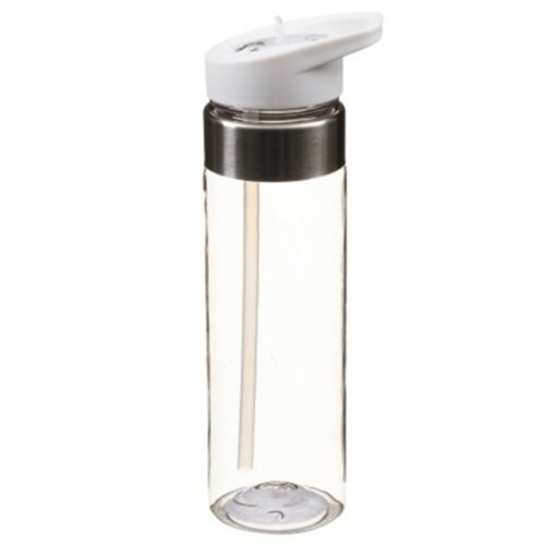 Tritan Drinks Stainless Steel Rim Bottle with a Flip Top Straw for Easy Drinking