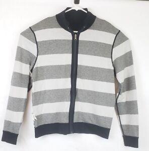 8726ce64993 Image is loading Hugo-Boss-XL-Reversible-Sweatshirt-Jacket-Black-Gray-