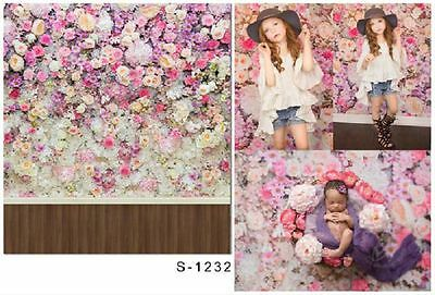 3x5ft Vinyl Photography Backgrounds Flower Wall Wood Floor Backdrop Studio Props
