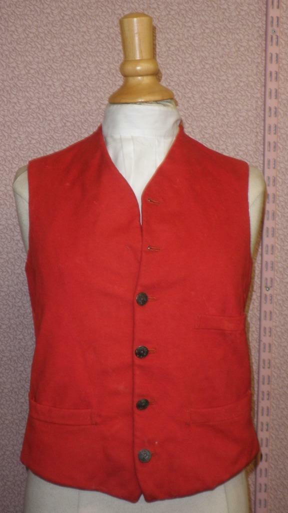 Vintage Gents Red Waistcoat With Heraldic Lion Buttons Size 36