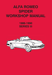 Alfa Romeo Spider Series Workshop Manual EBay - Alfa romeo spider workshop manual