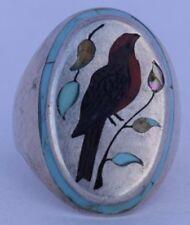 Native American, Zuni bird, gem inlay sterling Silver ring Henry & Linda Barber