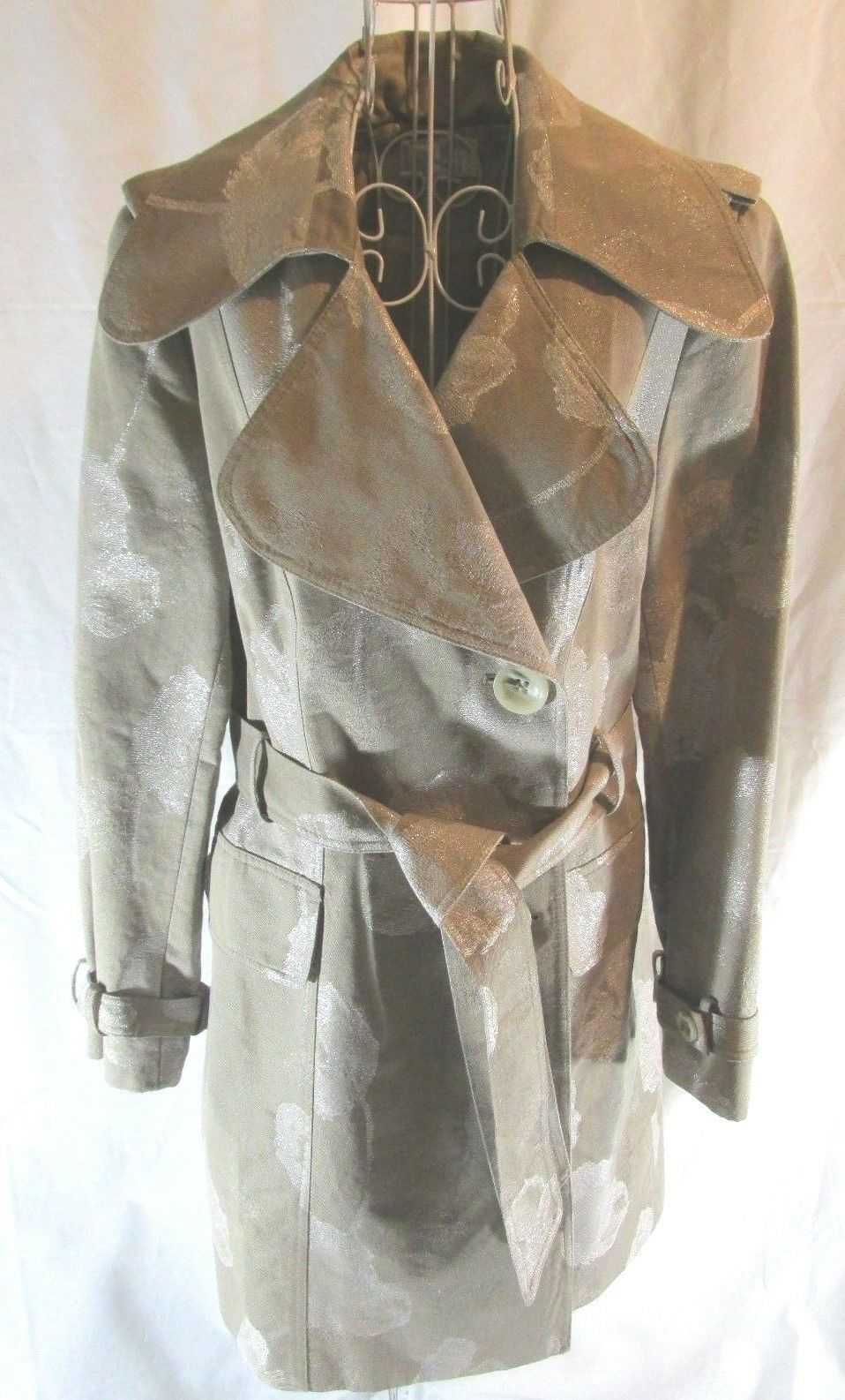 ALBERTO MAKALI Beige and gold Cream Leaf Trench Coat - Size 14