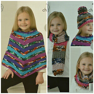 Image is loading KNITTING-PATTERN-Girls-Easy-Knit-Poncho-Scarf-Cowl- 6a98cf50b2e