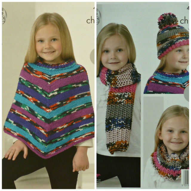 King Cole 4242 Knitting Pattern Poncho Snood Scarf Hat In Big