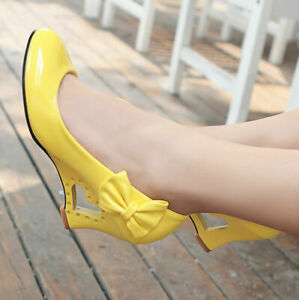 Womens-High-Heel-Heart-Wedge-Pumps-Bow-knot-Round-Toe-Patent-Leather-Party-Shoes
