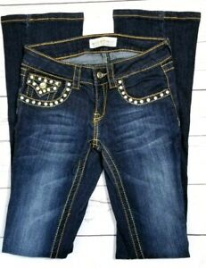Miss-Chic-Womens-Juniors-Bootcut-Jeans-Size-1-24x33-Strecth-Bling-Flap-Button