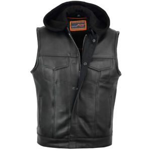 Motorcycle Vest Apparel Naked Cowhide Removable Hood Hidden Zipper Leather DS182