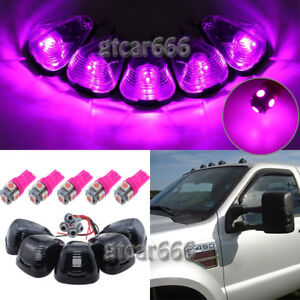 5x Pink Purple 5050 LED Smoke Roof Cab Marker Light Kit for 99-16 Ford E/F Truck