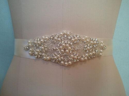 """Crystal Pearl Wedding Bridal Dress Applique Trim = 5 1//2/"""" LONG = DIY!"""