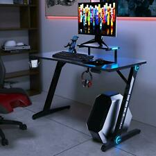 Gaming Desk Pc Computer Table With Rgb Lights Z Shaped Ergonomic Adjustable Feet
