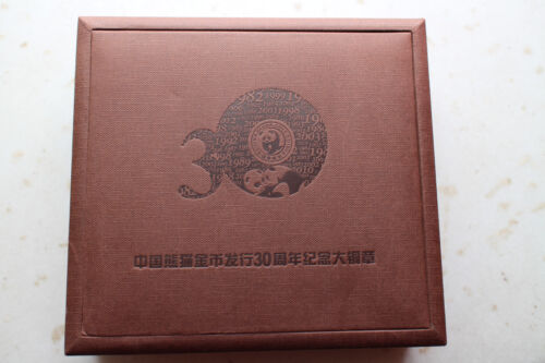 Rectangle China 2012 Brass Medal 30th Anni of Issuance of Panda Gold Coin