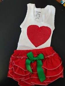 Bright Christmas Satin Ruffled Nappy Cover And Hand Embellished Singlet Set Sz 00 Clothing, Shoes & Accessories