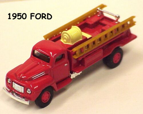 Golden Wheel 1:87 scale set of 2 Fire Trucks with ladders 1950 Ford /& Peterbilt