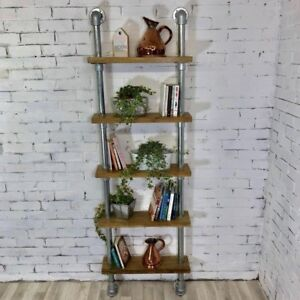 Handmade-Bespoke-Reclaimed-Oak-and-Scaffolding-Bookshelf