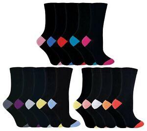 5-Pack-Donna-Nero-Multi-Colore-Tallone-e-Punta-Calzini-Di-Cotone-FASHION-DRESS