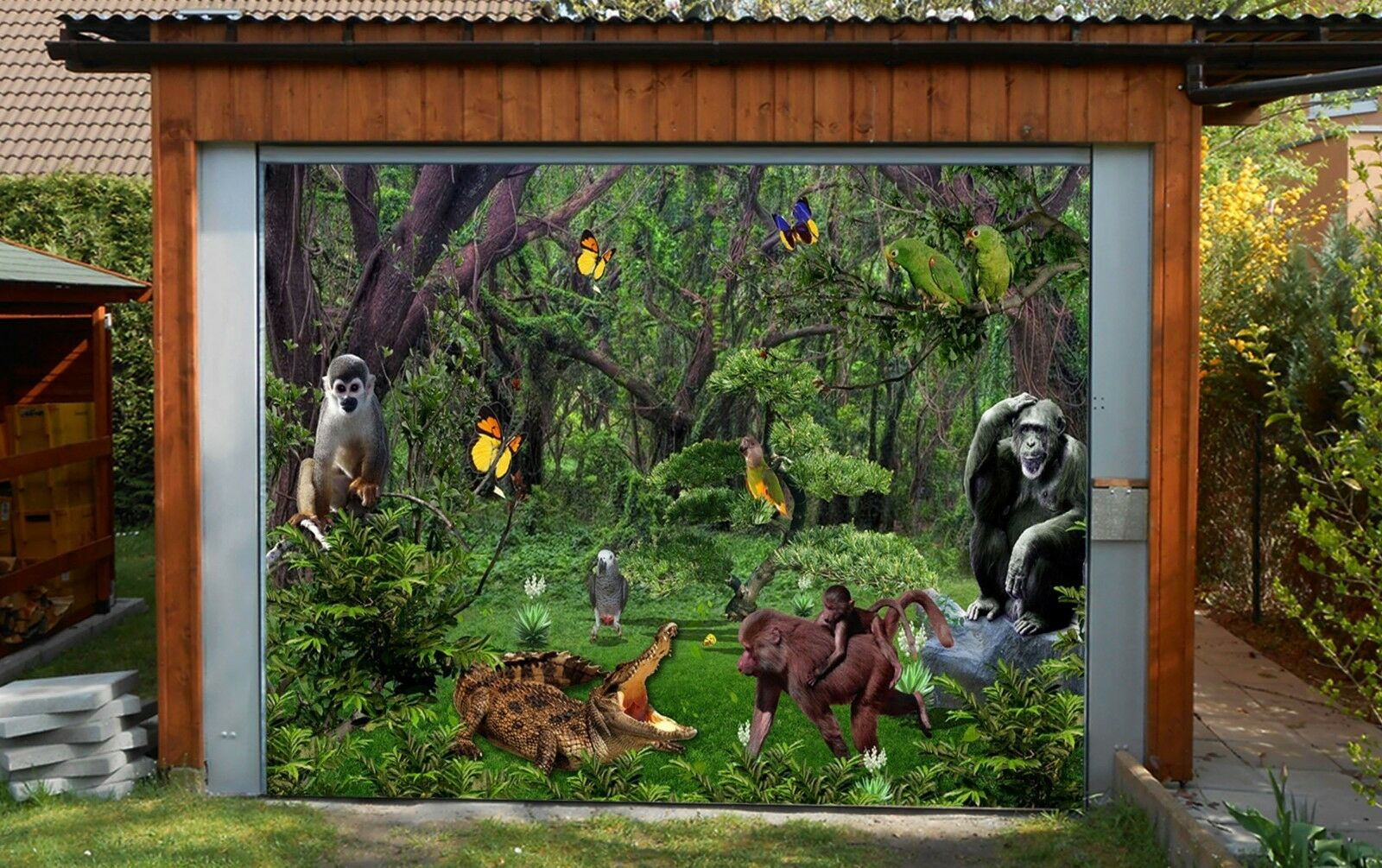 3D Adorable animal Garage Door Murals Wall Print Decal Wall Deco AJ WALLPAPER UK