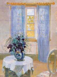 PAINTING-INTERIOR-STUDY-ANCHER-TABLE-CLEMATIS-POSTER-ART-PRINT-BB12507A