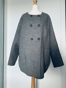 Per Una Premium Wool Blend Grey Marl Coat Cape Double Breasted Button Up Size 24
