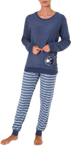 61238 Damen Frottee Pyjama Schlafanzug langarm mit Bündchen und Mond Motiv