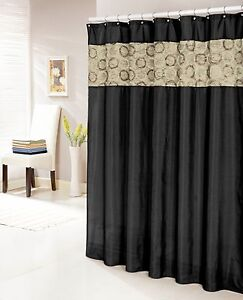 Image Is Loading Black Faux Silk Shower Curtain 14 034 Textured