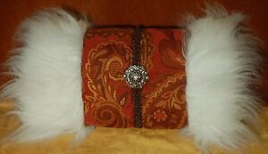 Rose Cameo Hand Warmer Victorian Steampunk Muff Red Embroidered Material Light Brown Fur