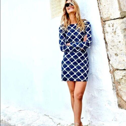 BODEN Blue Spade Long Sleeve Jersey Tunic Dress Si