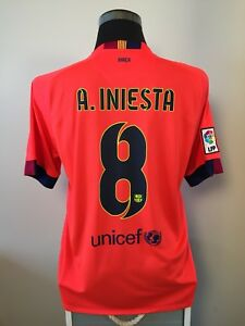 Image is loading A-INIESTA-8-Barcelona-Away-Football-Shirt-Jersey- 08ab1b6f22d