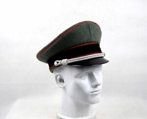 f895f6df7 WW2 GERMAN ELITE OFFICER HAT WOOL VISOR CRUSHER CAP RED PIPE IN SIZE ...