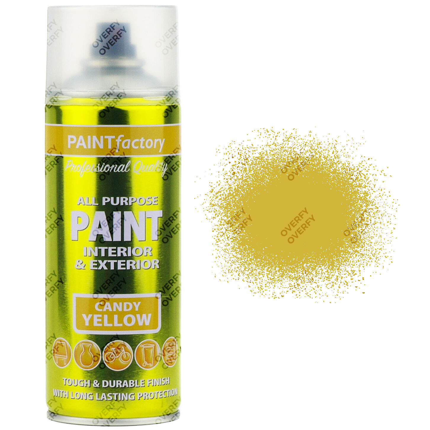 Delightful Candy Yellow Spray Paint Part - 2: 400ml All Purpose Candy Yellow Aerosol Spray Paint Household Car Plastic Etc