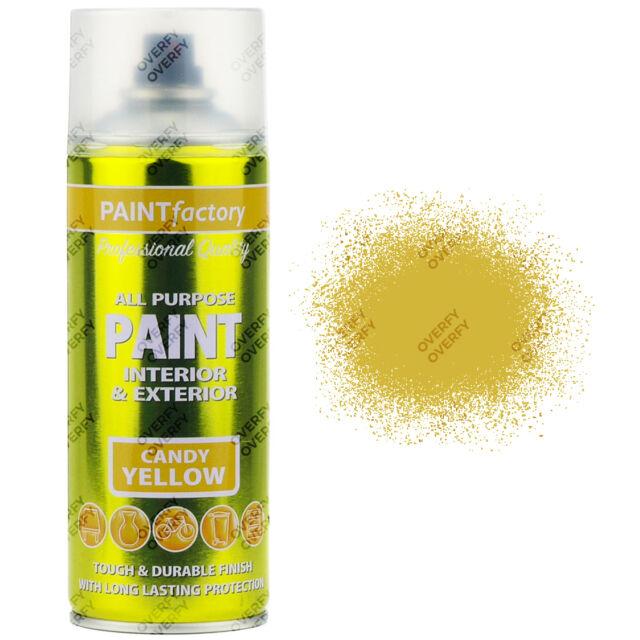 x1 400ml All Purpose Candy Yellow Aerosol Spray Paint Household Car Plastic Etc
