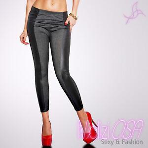 metà fuori 07b31 71f39 Leggings Jeans Jeggings elasticizzato inserto finta pelle ecopelle ...