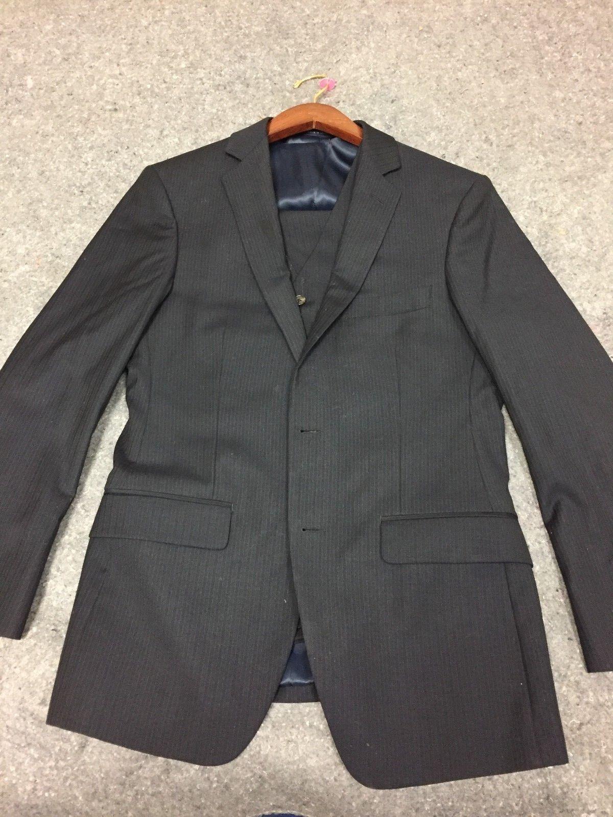 Ralph Lauren Suit Uomo Navy blu blu Navy Striped Wool Size 36 Short 29 Waist with Vest 1ebeb9