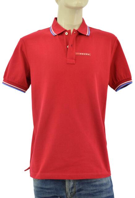 9cbf138e $250 PRADA Red Blue PIQUET Mens 100% Cotton Polo Shirt Size M L NEW  COLLECTION