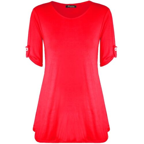 Womens turn up sleeve button swing top