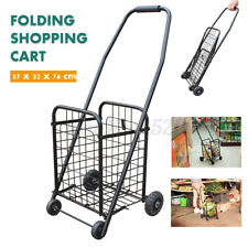 Large Capacity 4 Wheel Folding Metal Shopping Cart Rolling Utility Cart Black