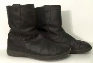 UGG-Australia-Aliso-Men-039-s-Distressed-Leather-Shearling-Pull-On-Boots-Size-11