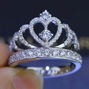 Fashion-Women-039-s-Princess-Queen-Crown-Silver-Plated-Wedding-Crystal-Sterling-Ring