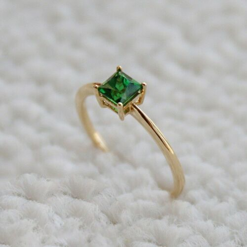 Princess Simple Emerald Gold Plated Wedding Ring In Square Cut Girl Jewelry