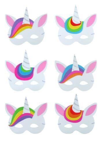 Lot of Unicorn Mask Face Soft Foam EVA Kids Girls Fancy Dress Party Bag 6 Astd