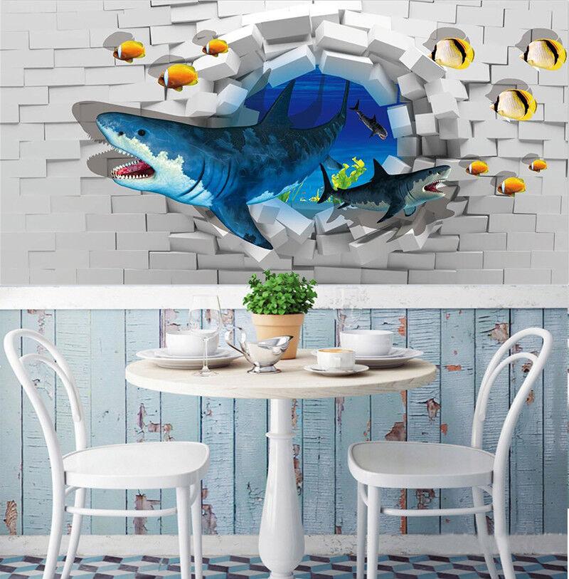 3D Bule Shark 421 Wallpaper Murals Wall Print Wallpaper Mural AJ WALLPAPER UK
