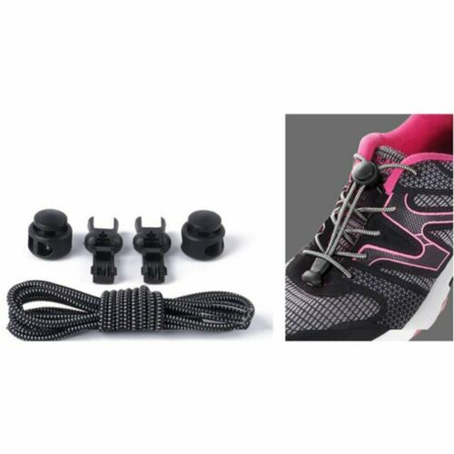 Elastic Stretchy No-Tie Locking Lazy Shoelaces Shoe Laces+Buckles For Sport Shoe